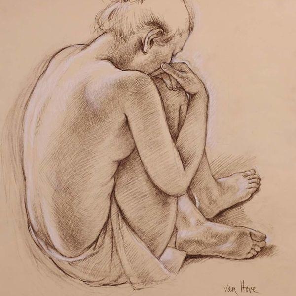 Francine Van Hove – Julia pense – Pierre noire rehauts de blanc – 65 x 50 cm – vendu