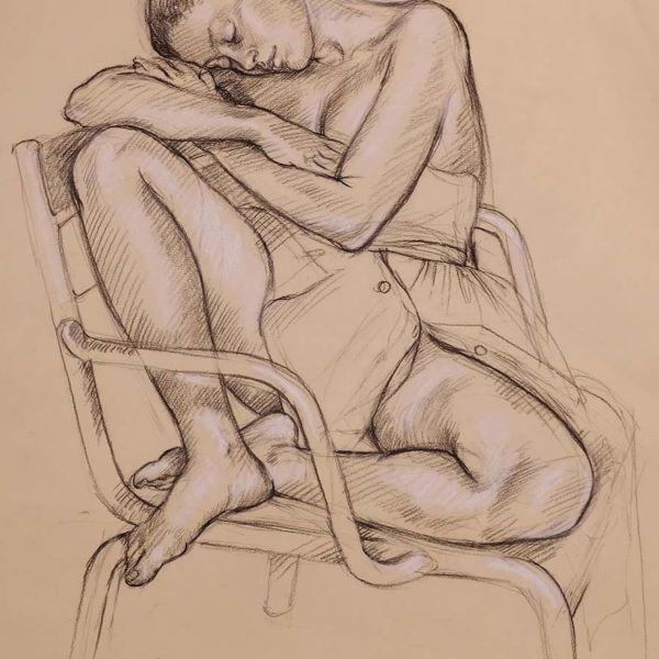 Francine Van Hove – Karen au Luco – Pierre noire rehauts de blanc – 65 x 50 cm – 2000 €