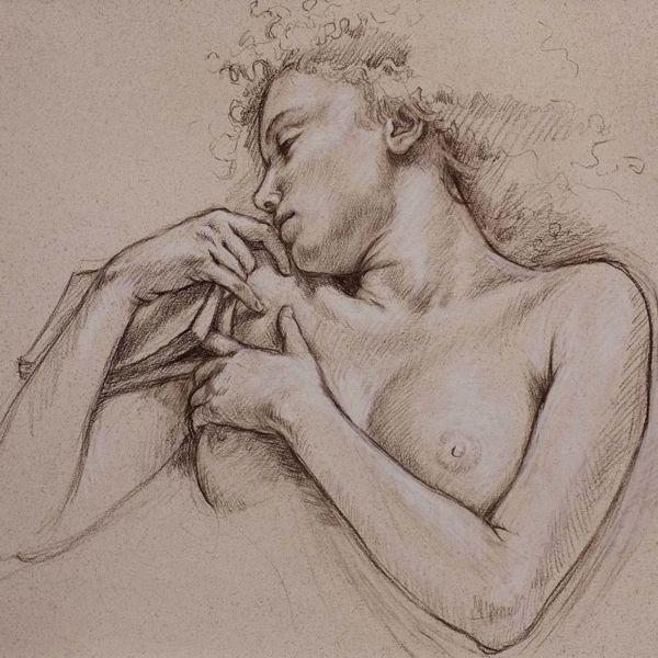 Francine Van Hove – Le Marque-page – Pierre noire rehauts de blanc – 57 x 75 cm – vendu