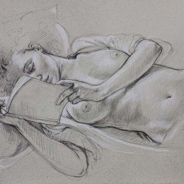 Francine Van Hove – Lire au lit – Pierre noire rehauts de blanc – 60 x 89 cm – vendu