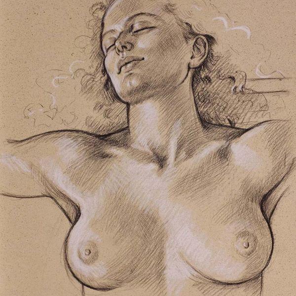 Francine Van Hove – Soleil – Pierre noire rehauts de blanc – 65 x 50 cm – vendu