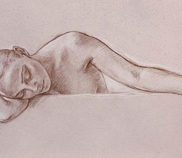 Francine Van Hove – Tchin-Tchin – Pierre noire rehauts de blanc – 50 x 106 cm – vendu