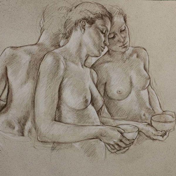 Francine Van Hove – Triple Hannah – Pierre noire rehauts de blanc – 75 x 106 cm – 3500 €