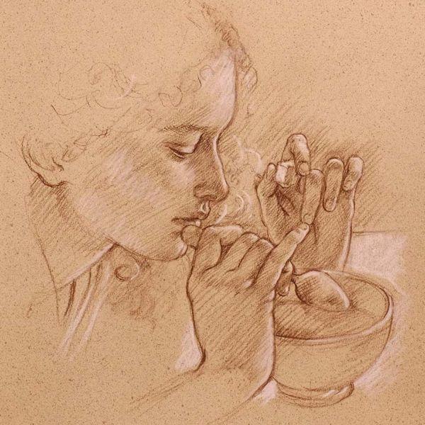 Francine Van Hove – Un Sucre – Pierre noire rehauts de blanc – 45 x 35 cm – 1600 €