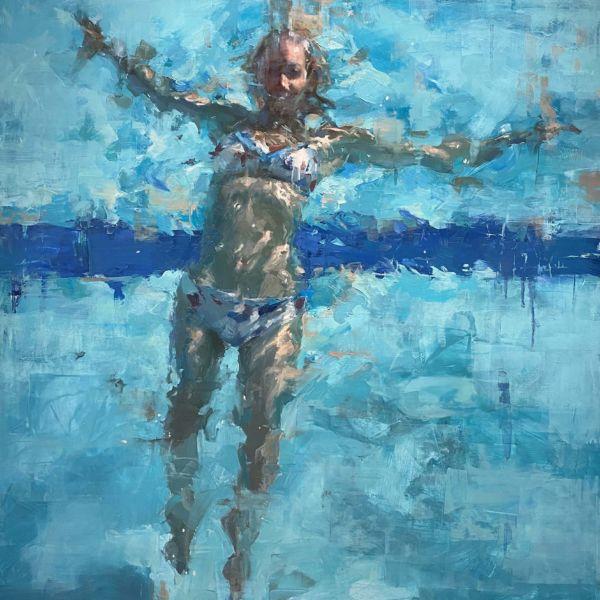 Jacob Dhein – Swimmer – huile sur bois – 92 x 76 cm – 4800 €
