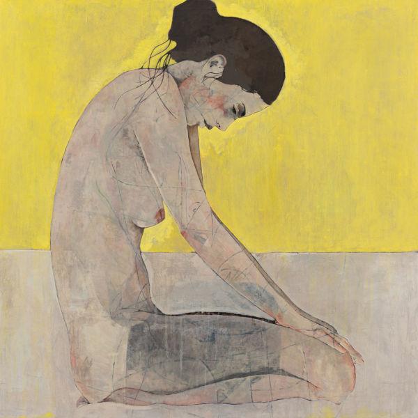 André Lundquist - A Fleur de toile 13 - huile sur toile - 100 x 100 cm - vendu