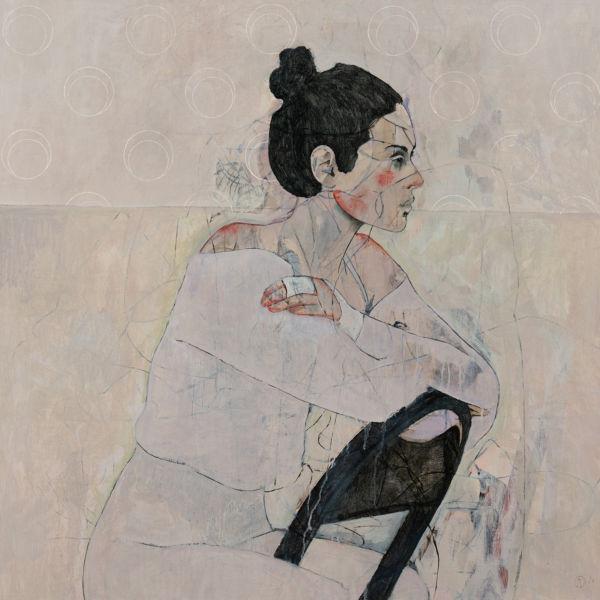 André Lundquist - A Fleur de toile 4 - huile sur toile - 100 x 100 cm - 5000 €