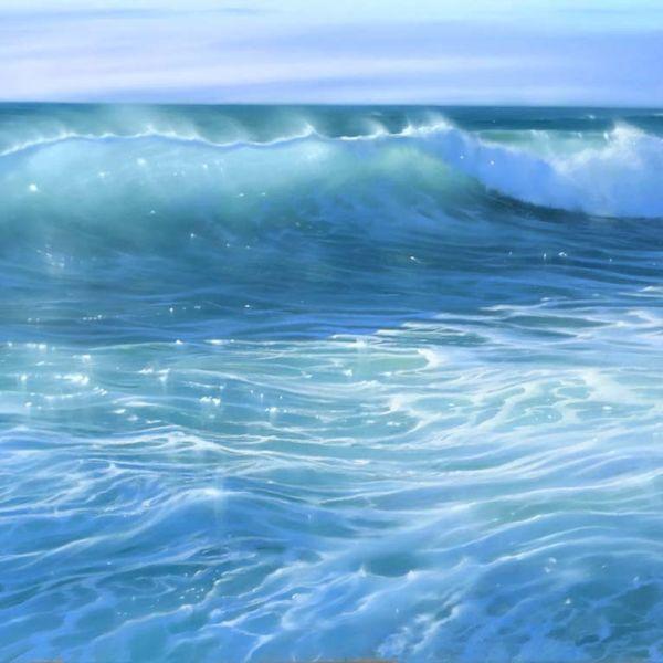 Nicole Stamatakis – Anglet, Plage de la Marinella en Août – 44 x 94 cm – 1800 €