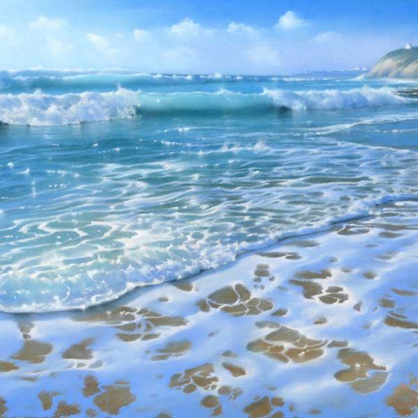 Nicole Stamatakis – Bidart, Plage des Embruns, marée montante – 44 x 64 cm – 1300 €