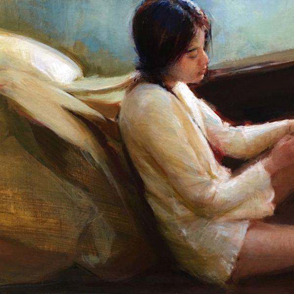 Olga Krimon – After – huile sur bois – 30,5 x 40,5 cm – vendu