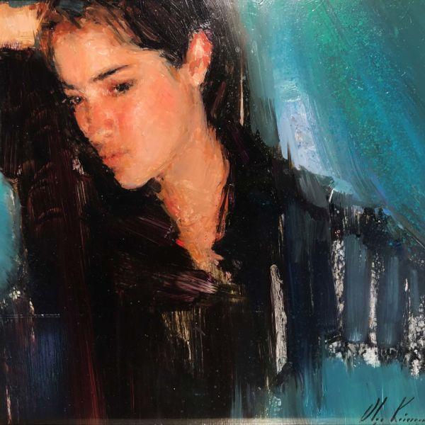 Olga Krimon – Blues – huile sur bois – 30 x 30 cm – 1500 €