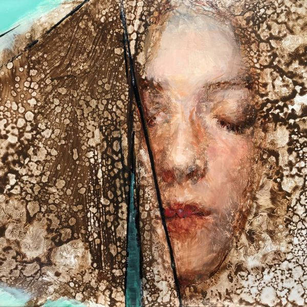 Olga Krimon – Girl With Brown Hair – huile sur bois – 20 x 30 cm – vendu