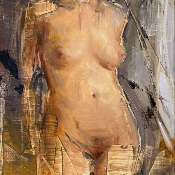 Olga Krimon – Nu – huile sur bois – 34 x 26 cm – vendu
