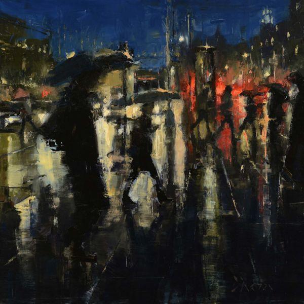 Jacob Dhein – Embarcadero in the Rain – huile sur bois – 40,5 x 40,5 cm – 2300 €