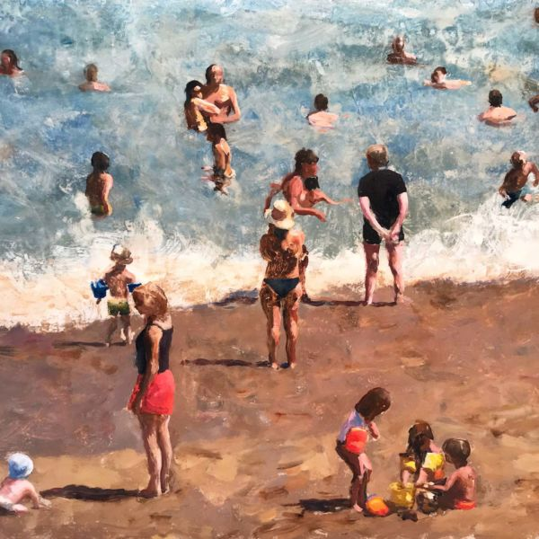 Robin Goldring – Biarritz, la grande Plage – huile sur film adhésif marouflé sur bois – 35 x 45 cm – 1500 €