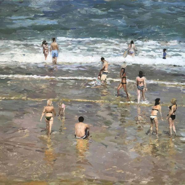 Robin Goldring – Biarritz, la grande Plage – huile sur film adhésif marouflé sur bois – 60 x 90 cm – vendu