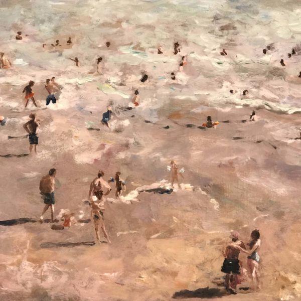 Robin Goldring – La grande plage de Biarritz – huile sur film adhésif marouflé sur bois – 30 x 35 cm – 1200€