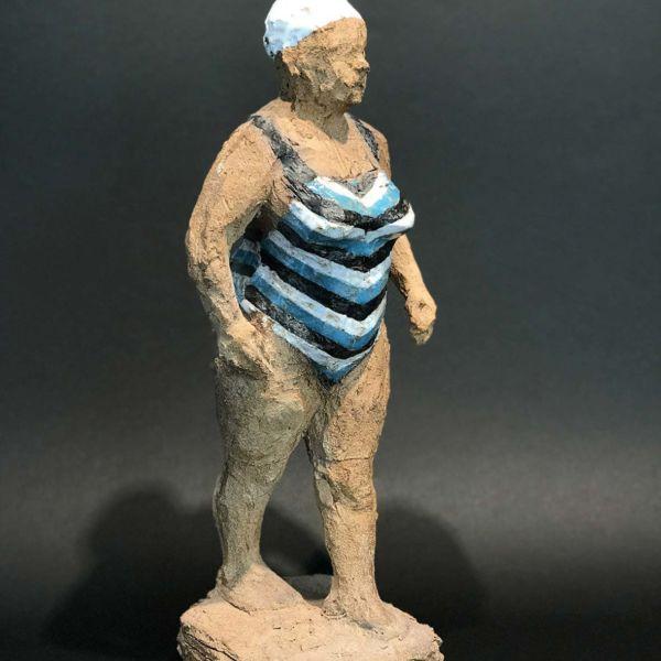 Sophie Gerspacher – Mamie rayée – terre cuite émaillée – pièce unique – 38 x 15 x 13 cm – 1300 €