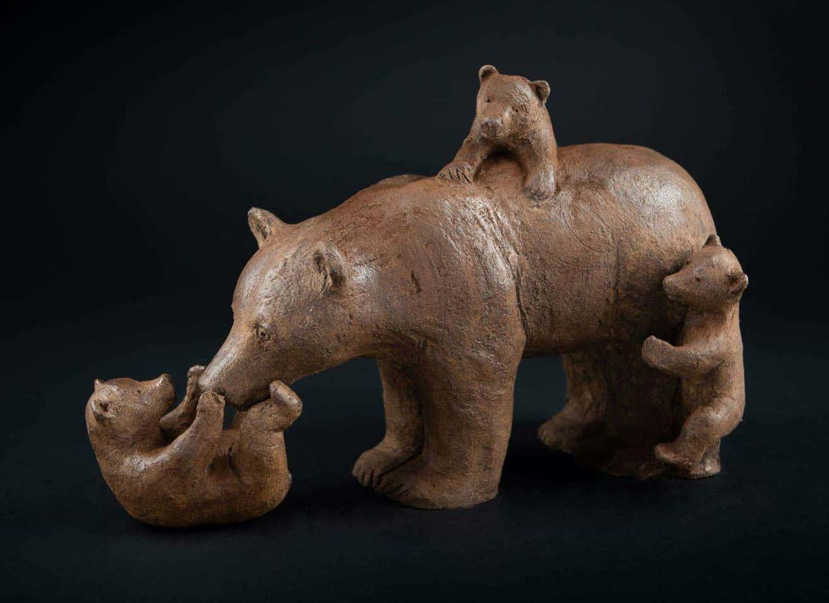 sophie verger trois oursons terre originale du bronze 35x25x17 cm