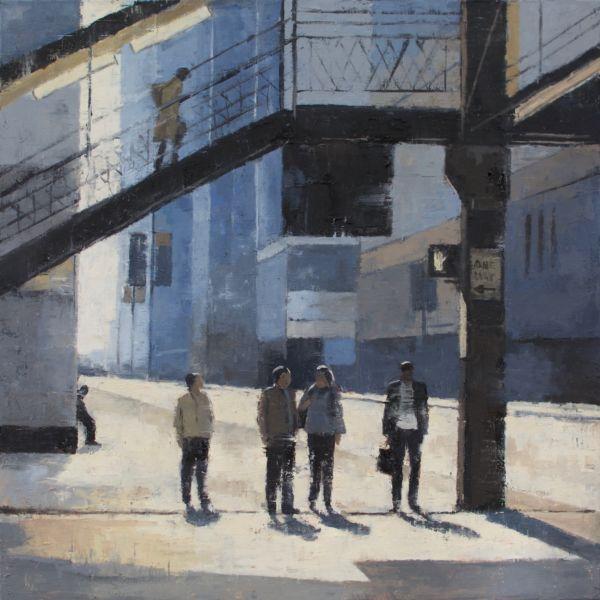 Charles Ducroux - Chicago - huile sur toile - 80 x 80 cm - huile sur toile - vendu
