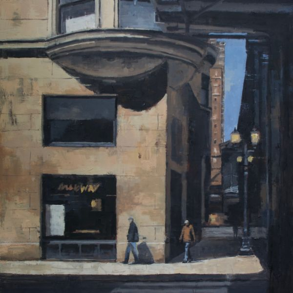 Charles Ducroux - Deux hommes, Chicago - huile sur toile - 120 x 100 cm - 3900€