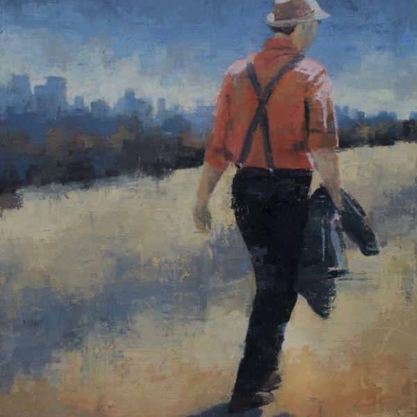 Charles Ducroux - Homme en rouge, New York - huile sur toile - 65 x 50 cm - 1900€