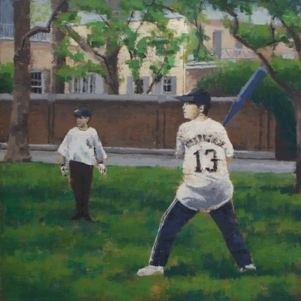 Charles Ducroux - Baseball, New York - huile sur toile - 80 x 80 cm - 2900 €