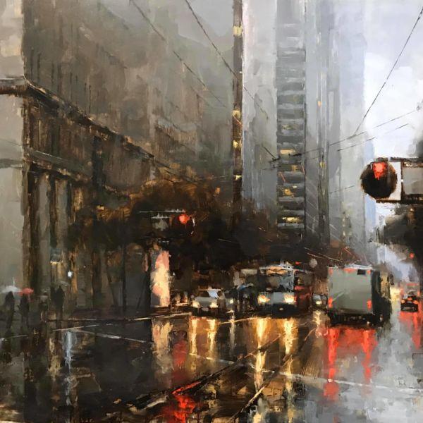 Jacob Dhein - San Francisco - huile sur bois - 81 x 100 cm - 6200 €