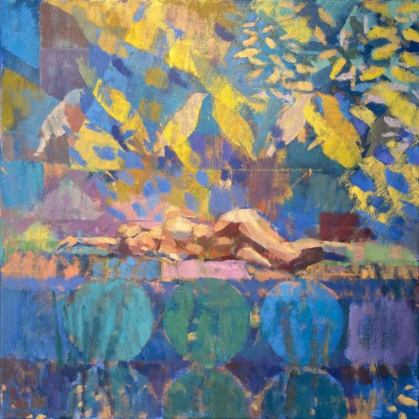 Ben Brotherton - Summer pose - huile sur lin - 50 x 50 cm - 1600 €