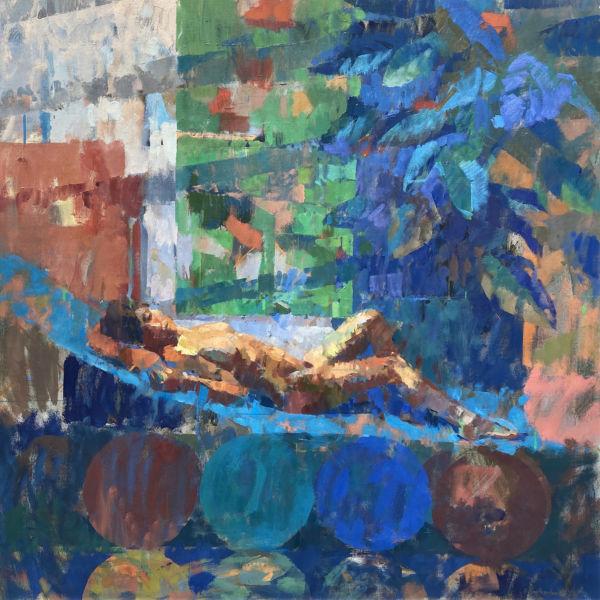Ben Brotherton - Audrey dans l'atelier - huile sur lin - 122 x 122 cm - 4500 €