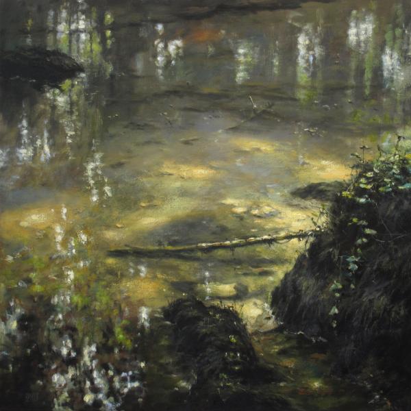 Christian Benoist - Mare forestière - huile sur toile - 60 x 60 cm - 4400 €