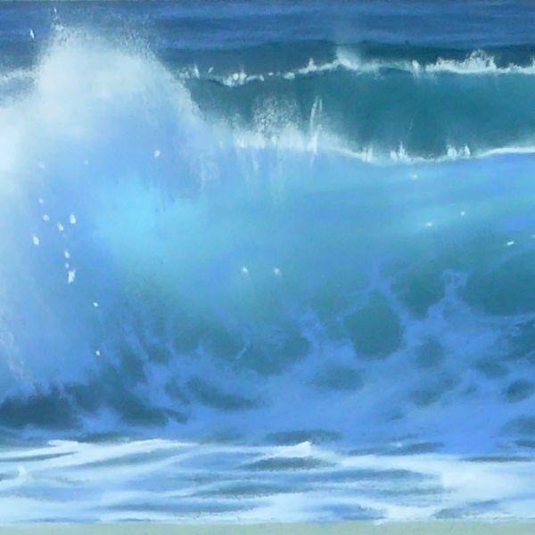Nicole Stamatakis - Les Cavaliers, grandes marées d'Octobre - pastel - 14 x 81 cm - vendu