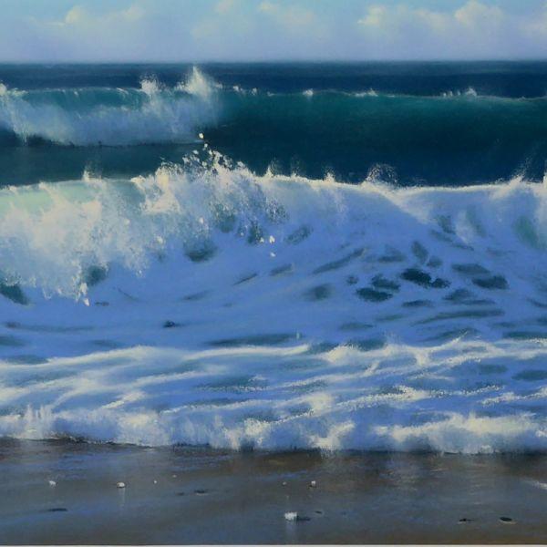 Nicola Stamatakis - Anglet, marée montante plage des Dunes - pastel - 20 x 64 cm - 650 €