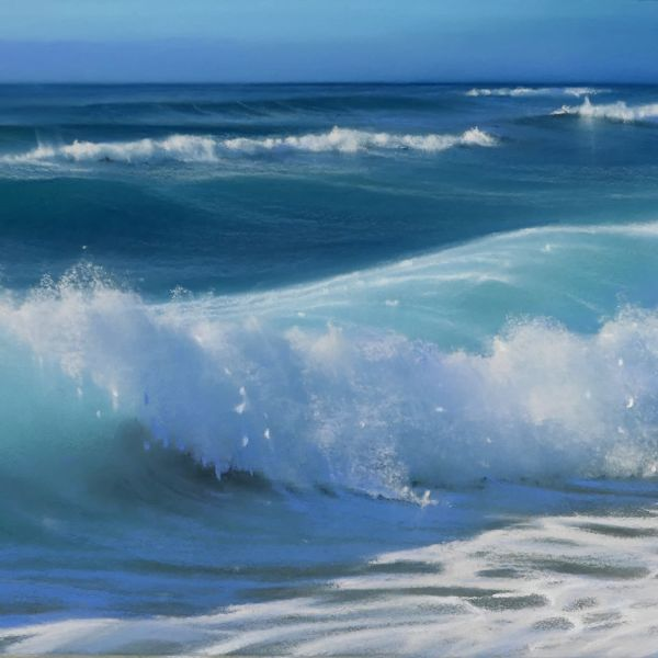 Nicola Stamatakis - Anglet, de la plage des Corsaires à la Digue de la Barre - pastel - 20 x 64 cm - vendu