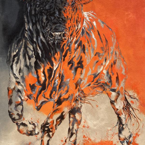 Agnès B Davis - Toro Fuego - acrylique sur toile - 146 x 89 cm