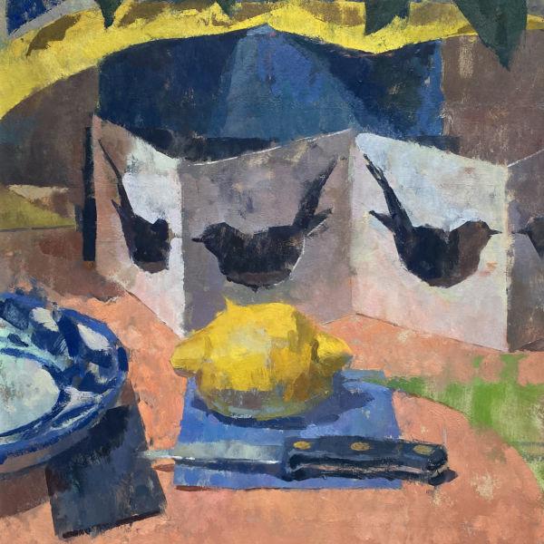Ben Brotherton - Citron et merles - huile sur panneau - 45 x 40 cm - 950 €
