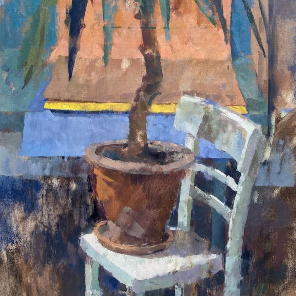 Ben Brotherton - Chaise et Yucca - huile sur lin - 83 x 49 cm - 1400 €