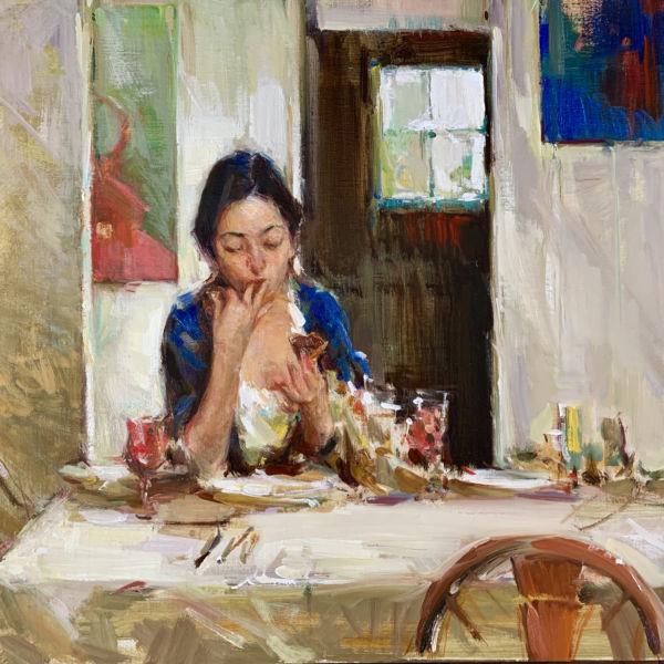 Olga Krimon - Sunday Brunch - huile sur toile - 45 x 60 cm - 4800 €