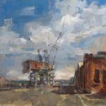 Maria Fernandez - Le port - huile sur bois - 50 x 50 cm - 3200 €