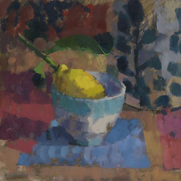 Ben Brotherton - Citron et bol de Quince - huile sur lin - 30 x 30 cm - 700 €