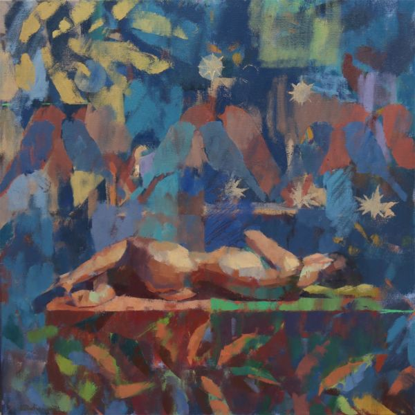 Ben Brotherton - Night time - huile sur lin - 50 x 50 cm - 1600 €