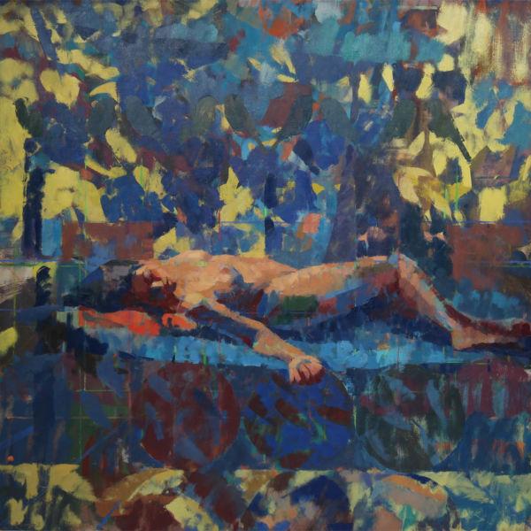 Ben Brotherton - Audrey Royal blue and Yellow - huile sur lin - 102 x 102 cm - 3800 €