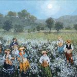 Fabienne Delacroix - La cueillette - huile sur bois - 24 x 19 cm