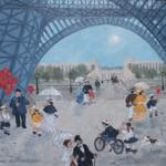 Fabienne Delacroix - Marchand de ballons à la Tour Eiffel - huile sur bois - 22 x 27 cm