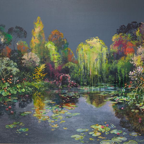 Eric Roux Fontaine - Les tendresses de l'azur - Résine, piments, acrylique sur toile - 81 x 100 cm