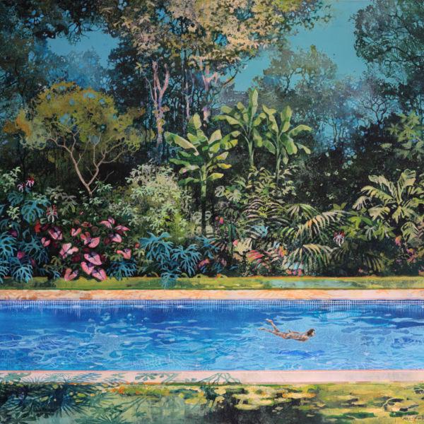 Eric Roux Fontaine - Au coeur du jour - Résine, piments, acrylique sur toile - 81 x 100 cm