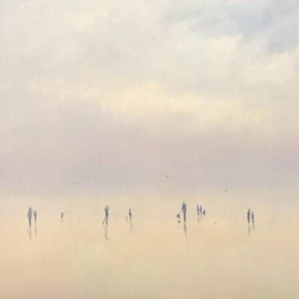 Robert Wellings - Beach Figures - huile sur toile - 46 x 61 cm - 3500 €