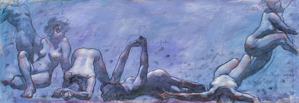 Shane Wolf - Conversions VII - fusain, sanguine, craie blanche sur papier préparé - 35 x 100 cm - 1500 €