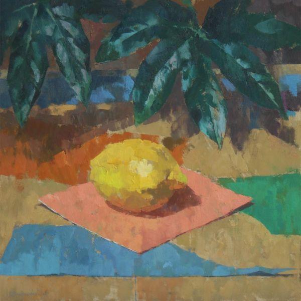 Ben Brotherton - Citron & feuille - huile sur toile - 36 x 36 cm - 700 €