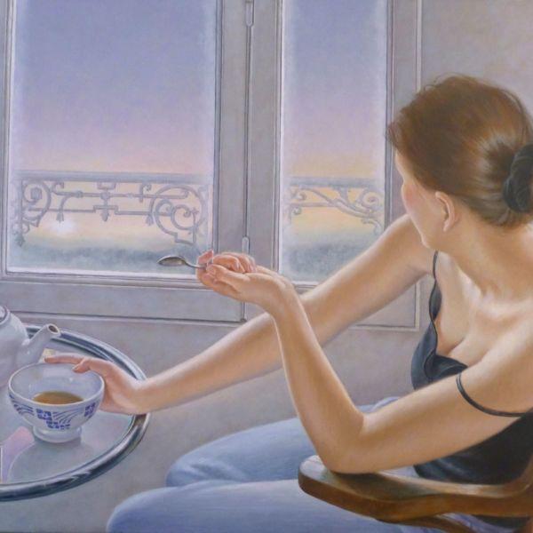 Francine Van Hove - Le soleil se lève - huile sur toile - 50 x 73 cm